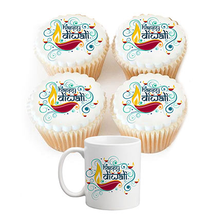 Combo of Diwali Mug and Cupcakes: Diwali Gifts