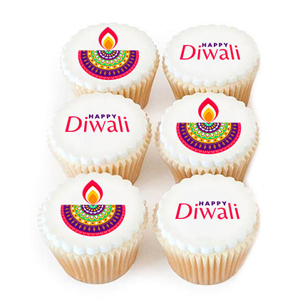 Diwali Diyas Chocolate Cupcakes 6 Pcs: Gifts for Diwali