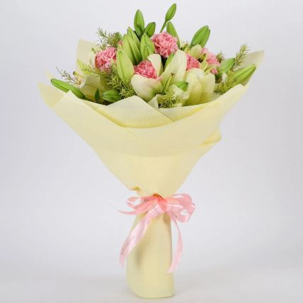 Asiatic Lilies & Carnations Mixed Bouquet: Exotic Flowers Delivery