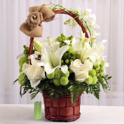 Basket of Mixed White Flowers: Basket Arrangements