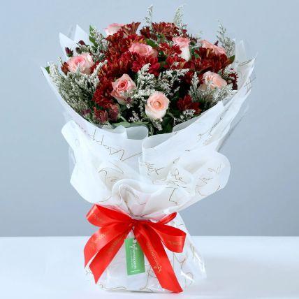 Beautiful Roses & Chrysanthemums Bouquet: Air Purifier Plants