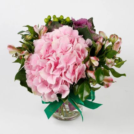 Imported Light Pink Hydrangea Flowers in Glass Vase: Exotic Flowers