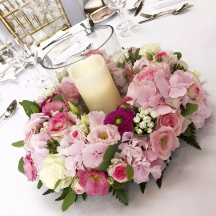 LED Candle Floral Table Arrangement: Exotic Flowers