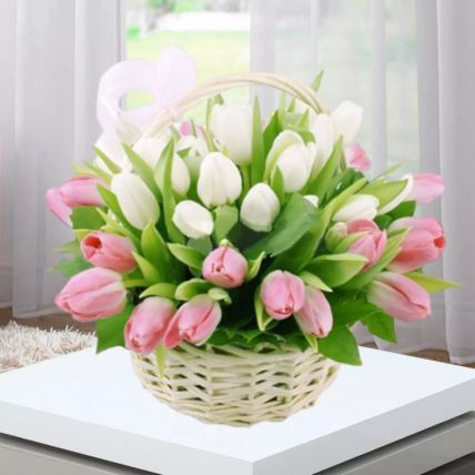 Pink White Tulips Basket: Tulips Flowers Delivery