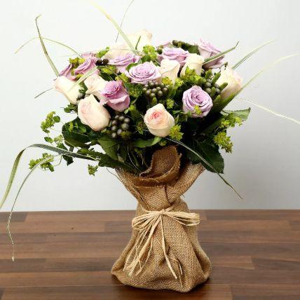 Purple and Peach Rose Bouquet: Air Purifier Plants