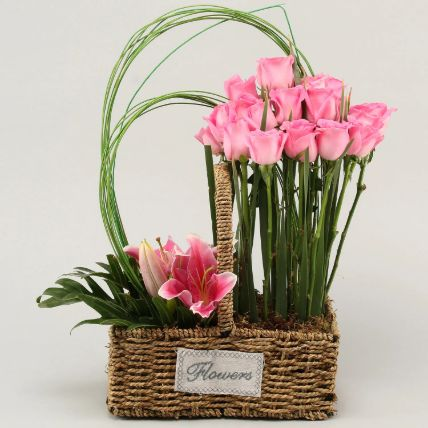 Roses & Lilies In Cane Basket: