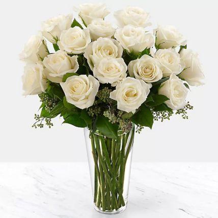 Vase Of Elegant White Roses: