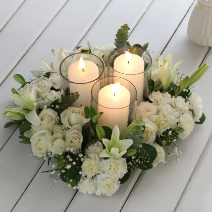 White Gorgeous Flowers In Wooden Tray: