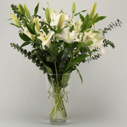 White Oriental Lilies In Vase: Exotic Flowers Delivery