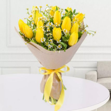 Yellow Tulips Bouquet: Exotic Flowers Delivery
