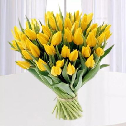 Yellow Tulips Bunch: Exotic Flowers Delivery