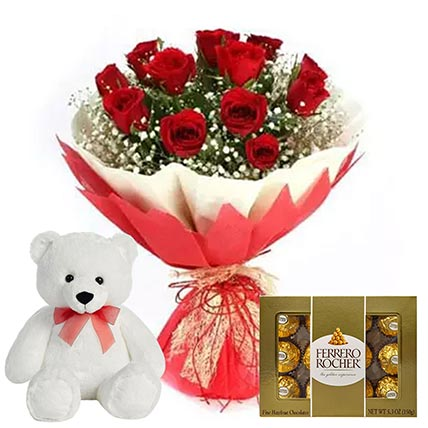 Chocolate with Red Roses & Teddy Bear: Flowers and Chocolates Delivery
