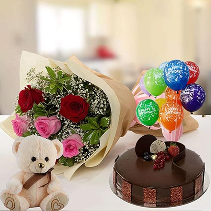 Happy Birthday Cake & Roses Hamper: Buy Gifts