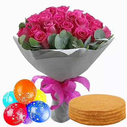 Honey Cake With Roses & Anniversary Balloons: Gift Combos