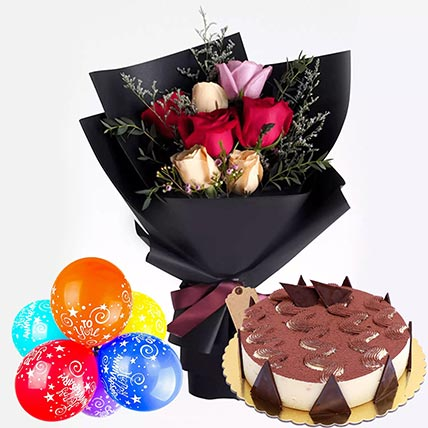 Roses & Cake Happy Anniversary Combo: Flowers and Cakes Delivery