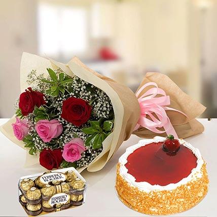 Strawberry Cake with Mixed Roses & Chocolates: Ferrero Rocher Chocolates