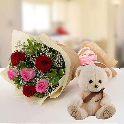 Teddy Bear & Roses Combo: Gift Shop