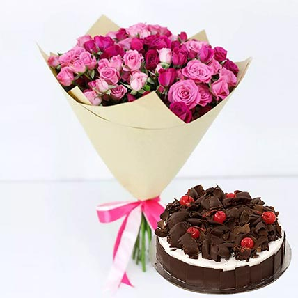 Black Forest & Pink Roses Combo: Gifts On Sale