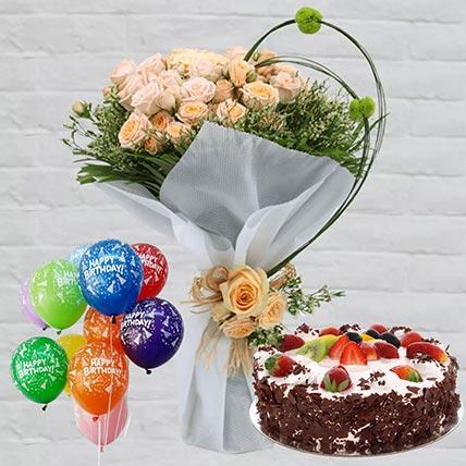 Black Forest & Roses Birthday Hamper: Flowers N Cakes