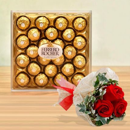Ferrero Rocher Box & Love Roses Bunch: Chocolates For Valentines Day