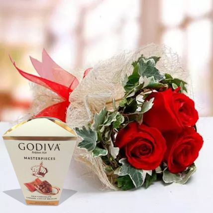 Valentine Roses & Godiva Chocolates: Valentines Gifts for Her