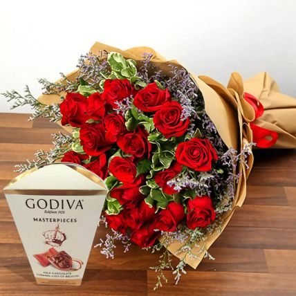 Valentine Special Roses & Godiva Chocolates: Gifts for Hug Day