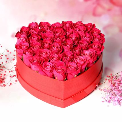 Dark Pink Roses in Heart Shape Box: Anniversary Flowers