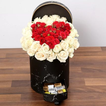 Peach and Red Rose Box With Patchi Chocolates: Flowers for Valentines day