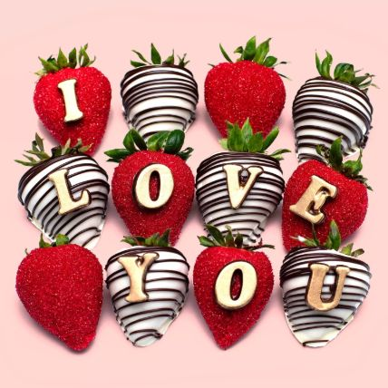 Delicious I Love You Chocolate Strawberries: Chocolate Day Gifts