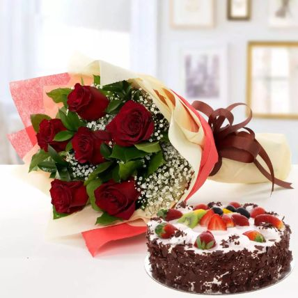 Red Roses Bunch And Black Forest Cake: