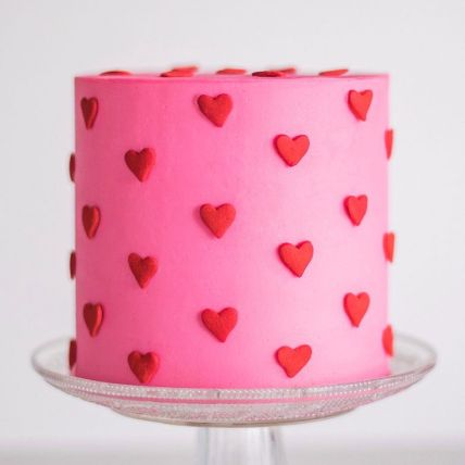 Sultry Red Hearts Chocolate Cake: Valentines Day Cake