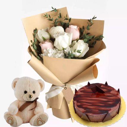 Chocolate Ganache Cake With Flowers & Teddy: Teddy Day Gifts