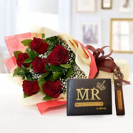 Red Roses Bouquet & Personalised Gifts: Gifts For Husband