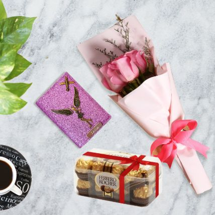 Pink Roses Bunch With Personalised Wallet & Chocolates: Valentines Day gifts for Wife