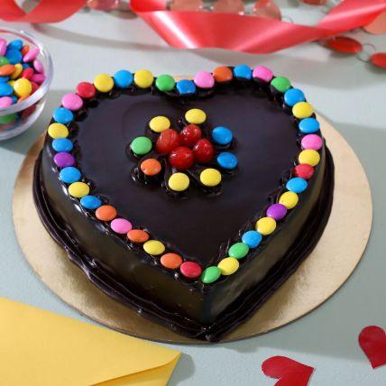 Heart Shaped Truffle Cake With Gems: Heart Shaped Cakes