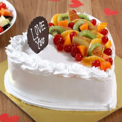 Heart Shaped Vanilla Fruit Cake: Heart Shaped Cakes Delivery