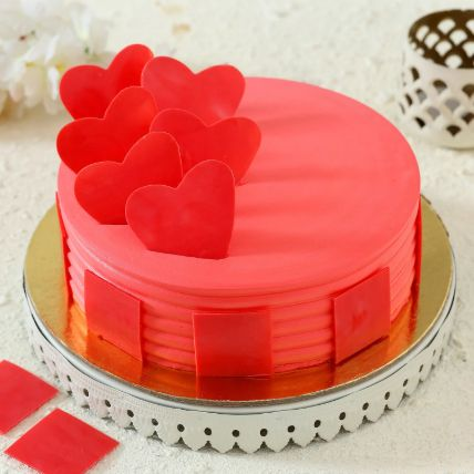 Hearty Strawberry Cake: Heart Shaped Cakes Delivery