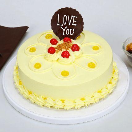 Love You Valentine Butterscotch Cake: Cakes Half Kg