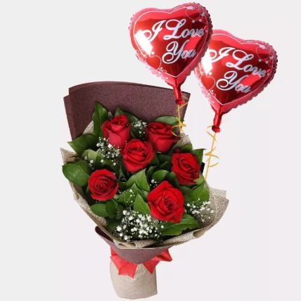 6 Red Roses Bouquet With I Love You Balloons: Balloons