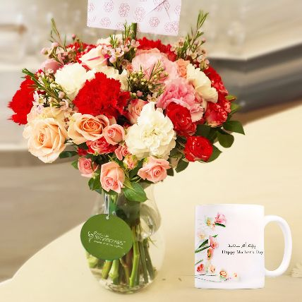 Floral Arrangement With Mothers Day Mug: Mother's Day Gifts