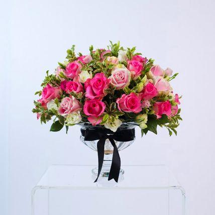 Alluring Pink Rose & Spray Rose Vase Arrangement: