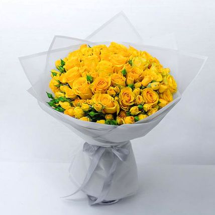 Beautiful Yellow Rose & Spray Rose Bouquet: