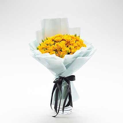 Beautifully Tied Yellow Spray Roses Bouquet: