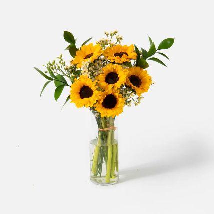 Blooming Sunflowers Vase Arrangement: Sunflower Bouquet
