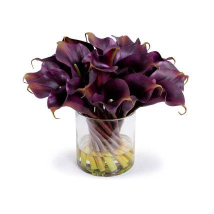 Exclusive Calla Lilies Glass Vase Arrangement: Lily Flower Bouquets