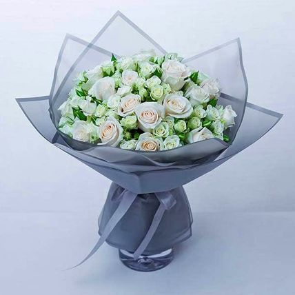 Majestic White Rose & Spray Rose Bouquet: