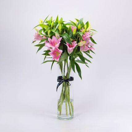 Serene Pink Oriental Lilies Vase Arrangement: Lilies Flowers