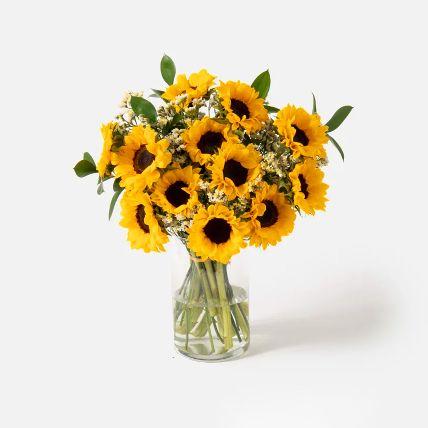 Striking Sunflowers Vase Arrangement: