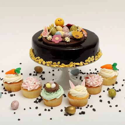 Easter Chocolate Truffle Cake And Cup Cakes Duo: Easter Gifts