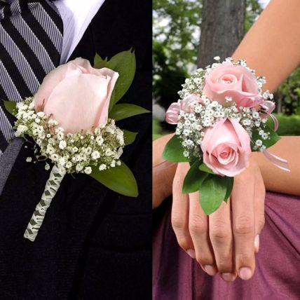 Pink Roses boutonniere and Corsage: